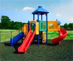 Rubber mulch for playgrounds and landscape use.