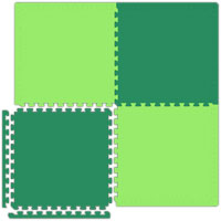 Interlocking Foam Tiles in Reversible Lime Green/Forest Green
