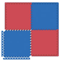 Interlocking Exercise Foam Mats - Red/Blue