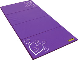 Purple Tumbling Mat with White Heart Design