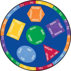 Large Classroom Rugs: Billingual Shapes and Colors School Carpets