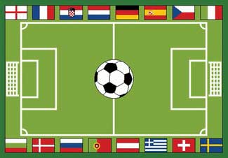 Soccer Rugs, Soccer Field Carpet:Soccer Field Rug With Flags From Around The World