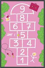 Hopscotch Rug Pink: Chalk Walk