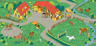 Kids Play Carpet WIth Horse Stable Theme