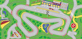 Racetrack Playmat For Kids - Car Play Carpet