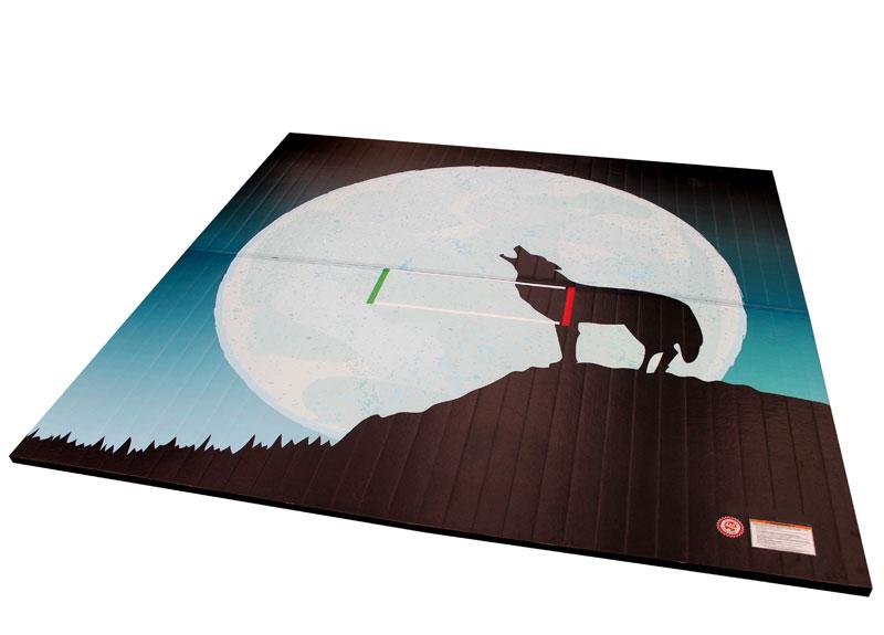 Wrestling Mat With Custom Printed Coyote Full Moon